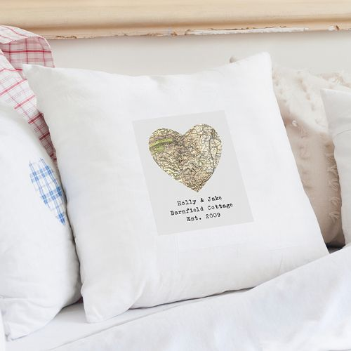 Personalised Revised New Map Heart Cushion Cover